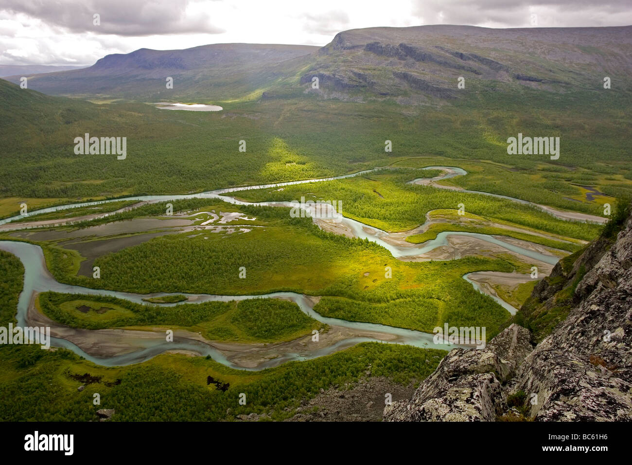 High angle view of river, Rapadalen, Sarek National Park, Jokkmokk Municipality, Lapland Province, Sweden Stock Photo