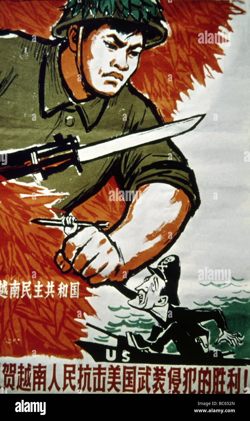 geography / travel, China, politics, propaganda poster for the Northern Vietnamese Army in fight against the United Stock Photo