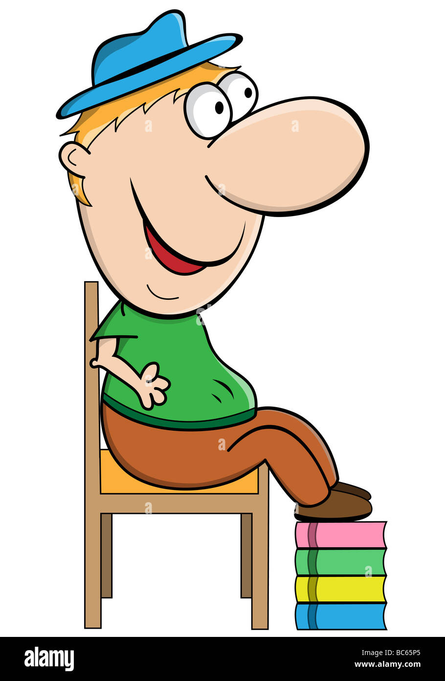 funny cartoon character with big head and short body stock photo