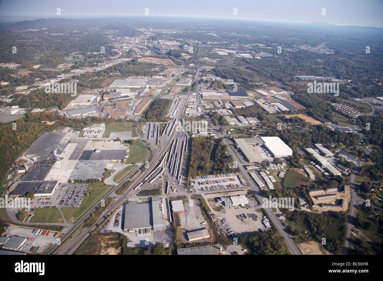 Aerial View of the city of Dalton Georgia Stock Photo
