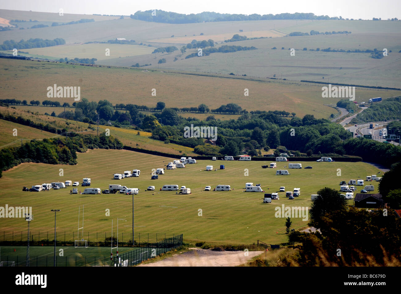 Travellers camp site on the outskirts of Brighton on the Waterhall sports fields - Stock Image