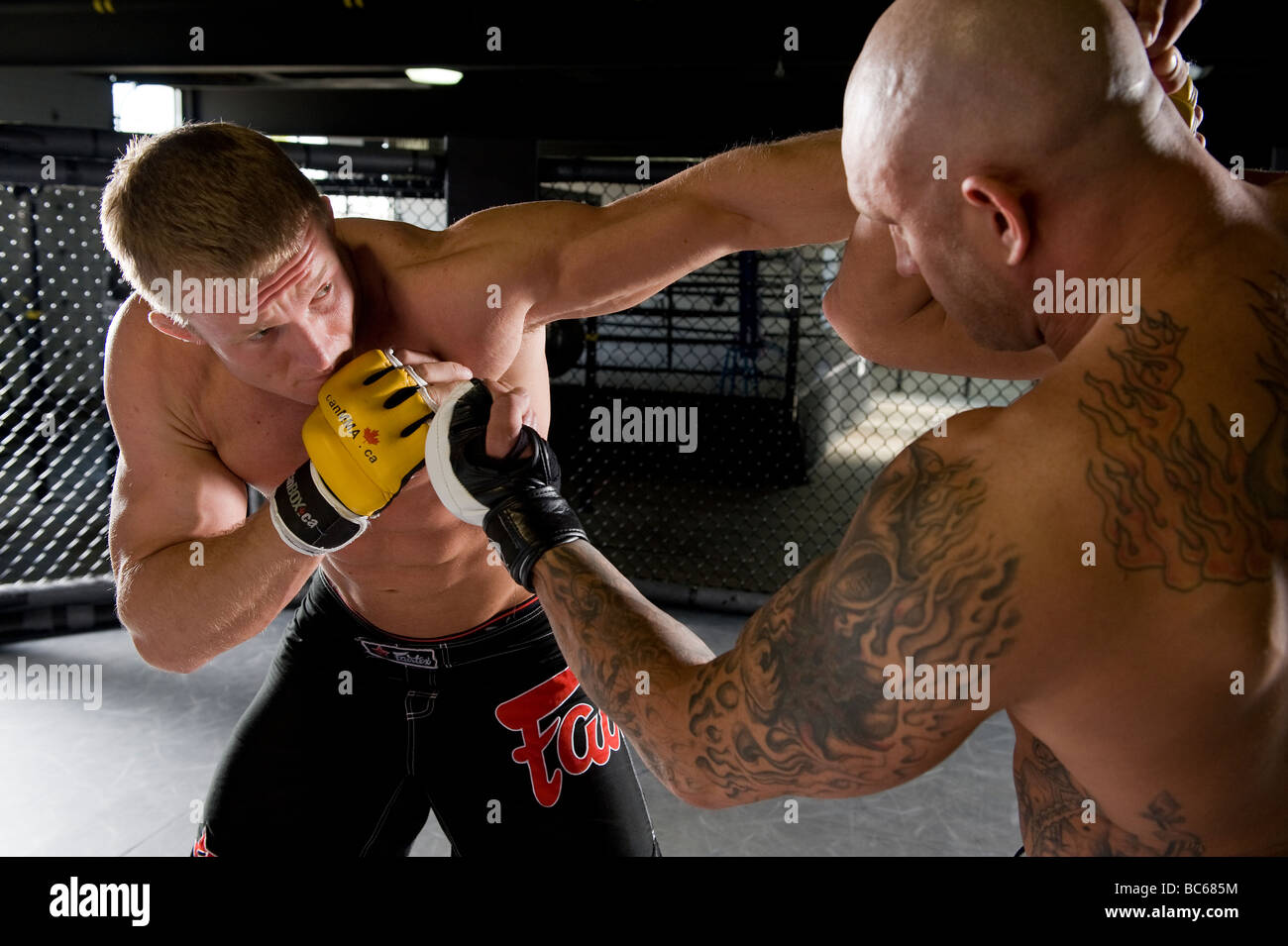 Two UFC fighters in a match. - Stock Image