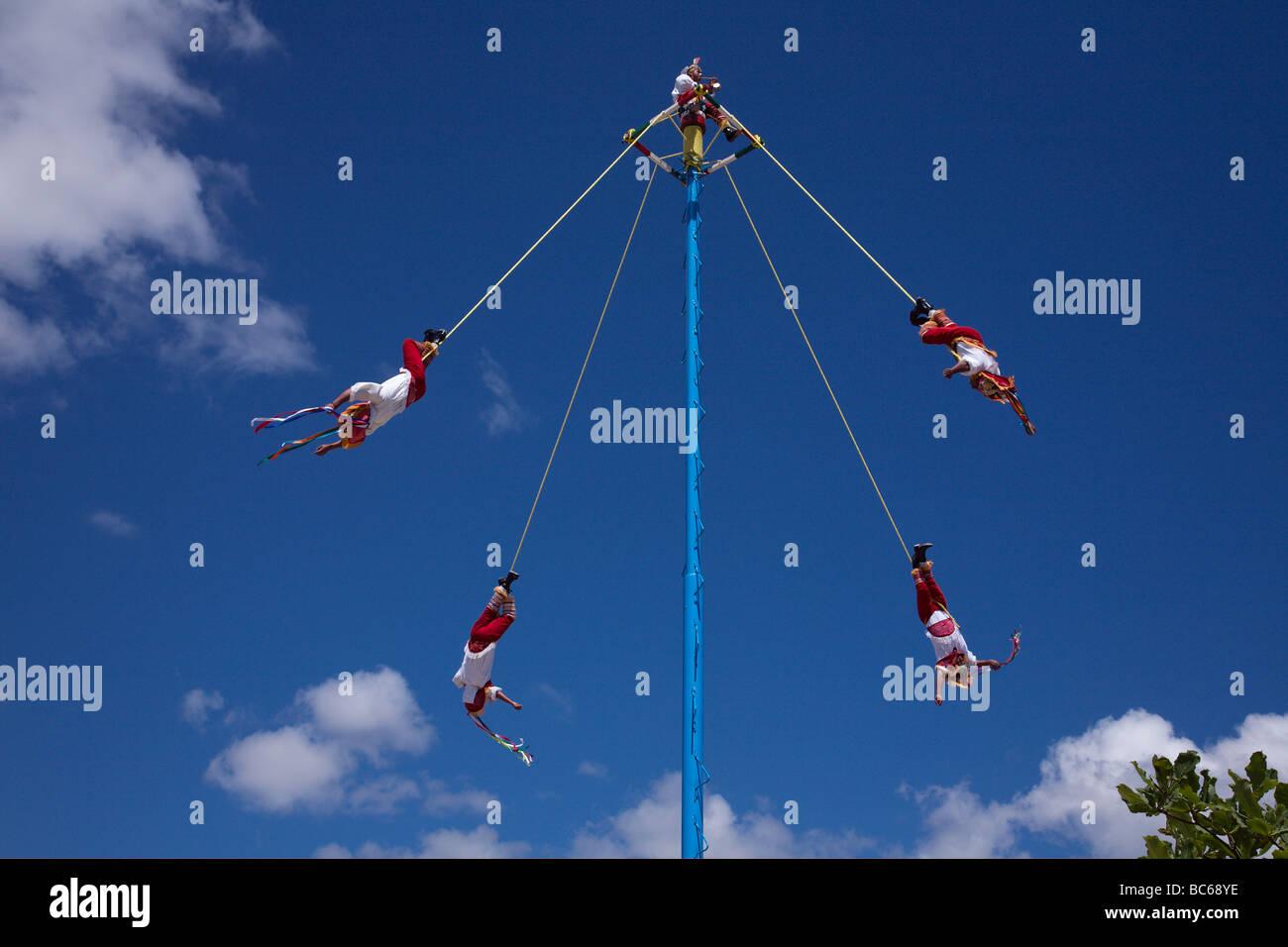 Papantla flying men show, Tulum, Mexico - Stock Image