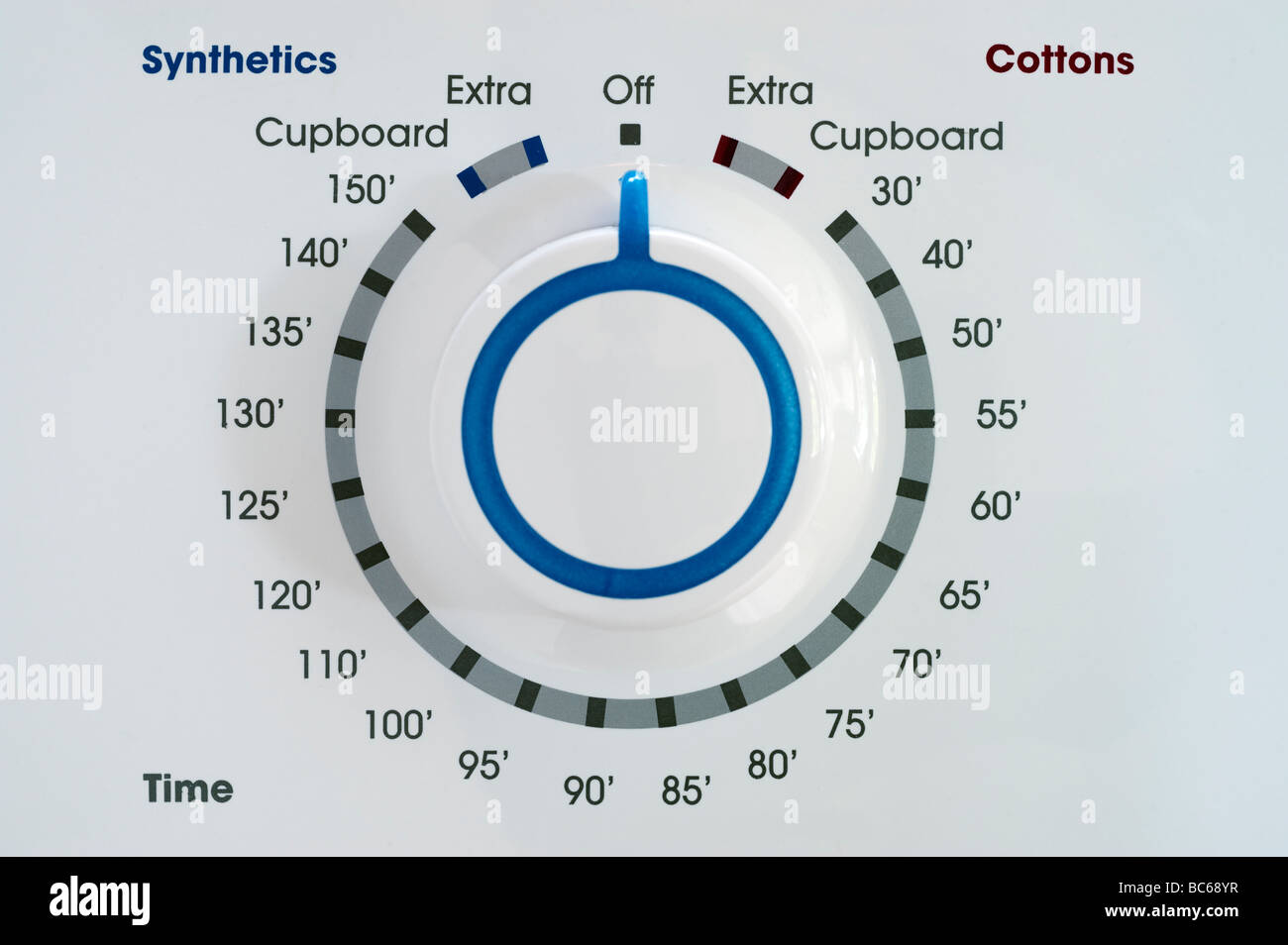 Temperature control dial and timer dial on a White Tumble Dryer - Stock Image