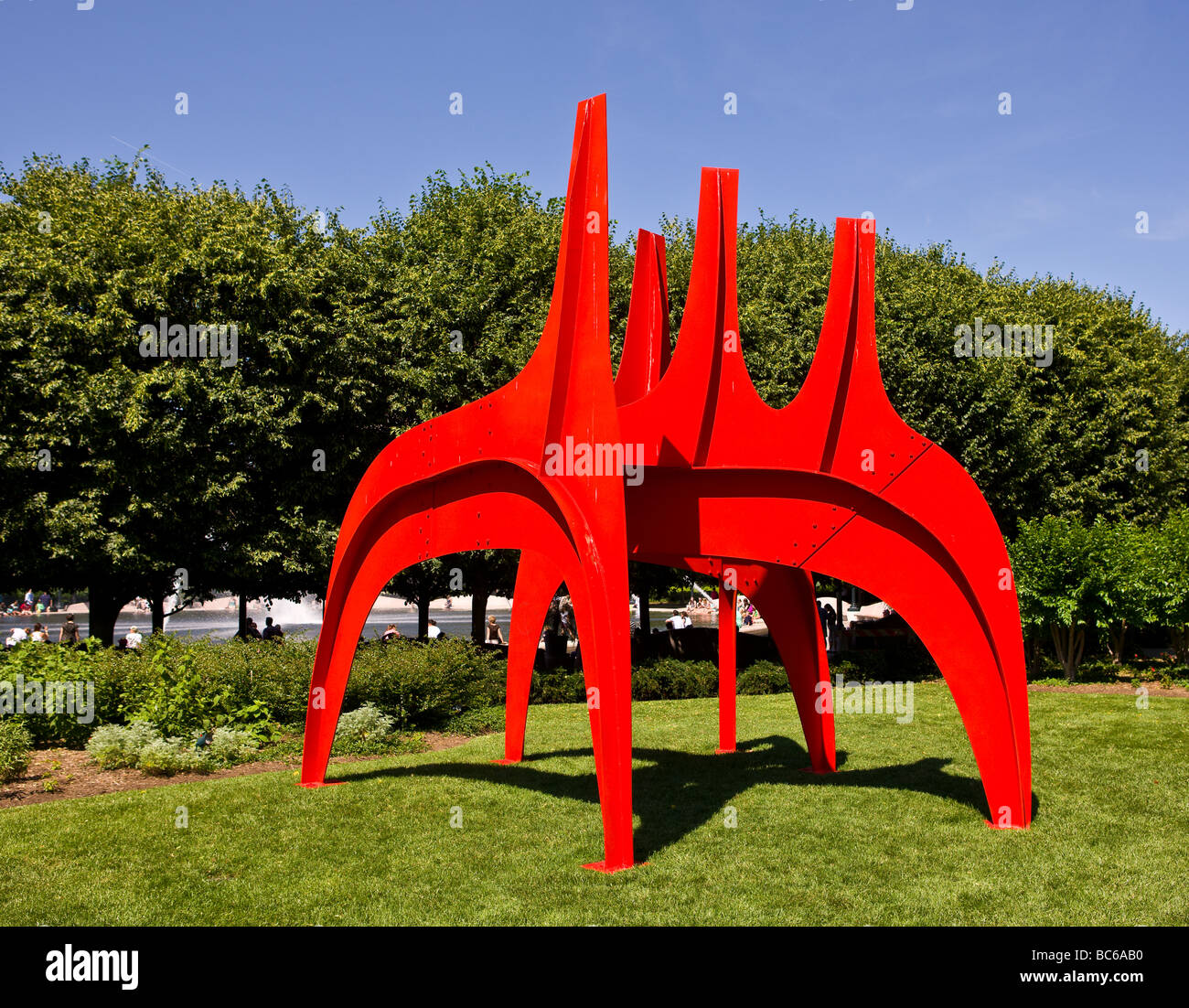 WASHINGTON DC USA Cheval Rouge sculpture by Alexander Calder in the National Gallery of Art Sculpture Garden - Stock Image