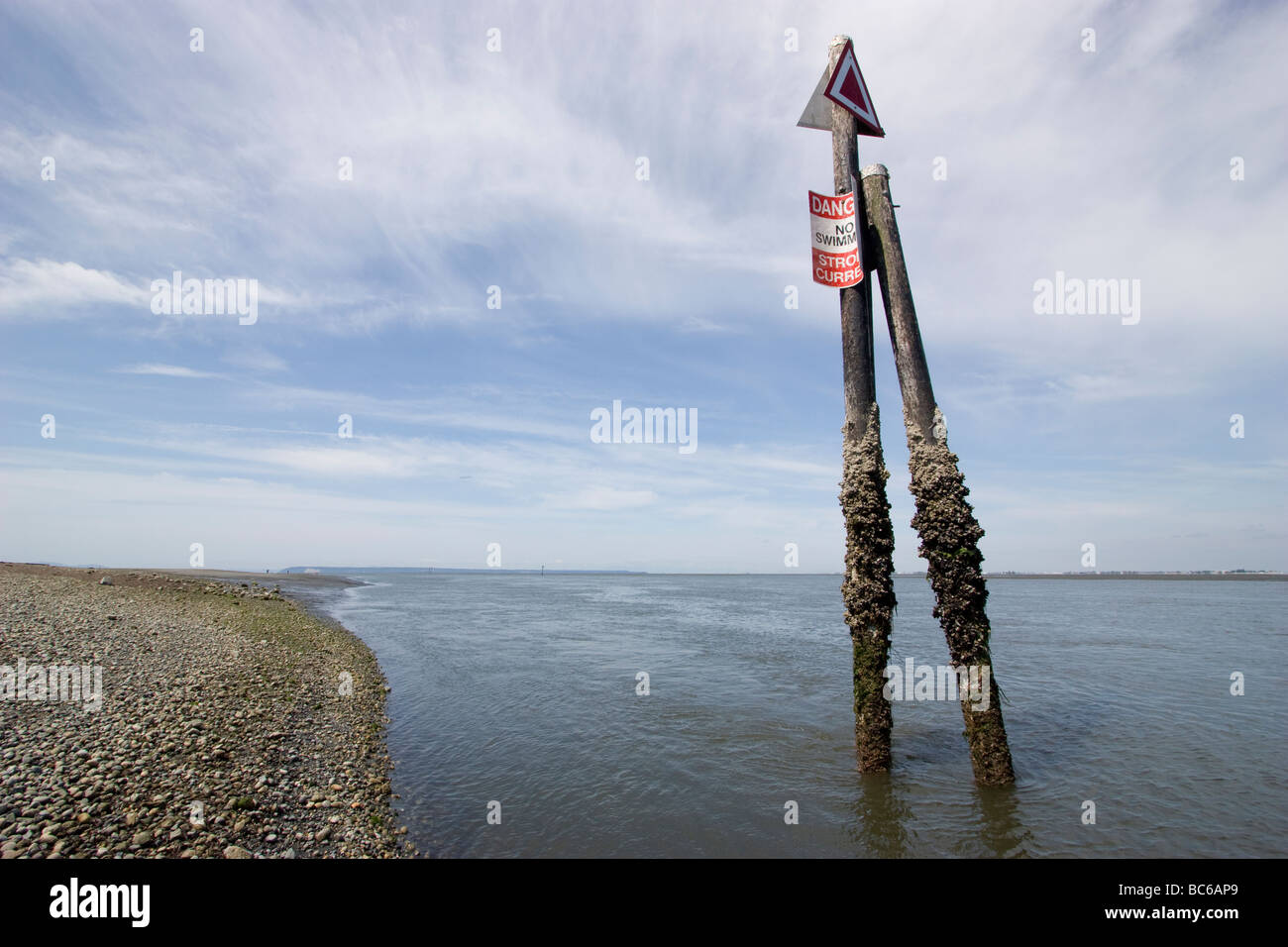 crescent beach Vancouver canada danger no swimming strong current sign - Stock Image