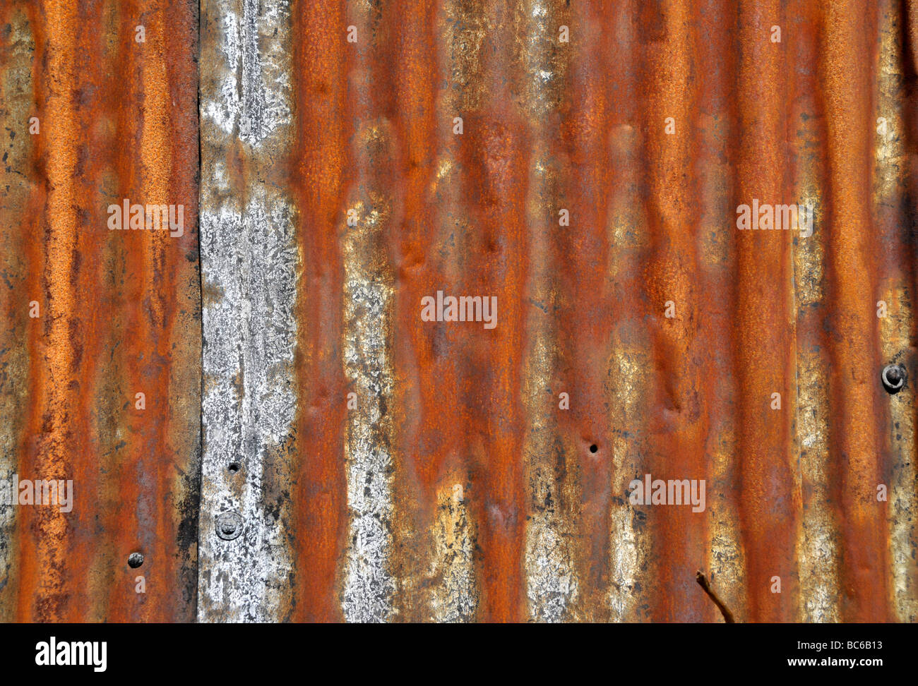 Close up of a rusting corrugated roof. - Stock Image