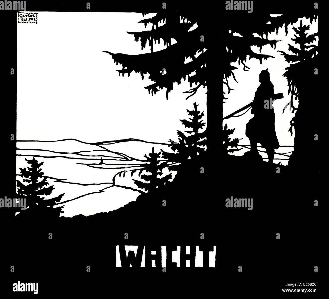 events, First World War / WWI, propaganda, 'Wacht' (Watch), after a silhouette by Carlos Tips, Germany, - Stock Image