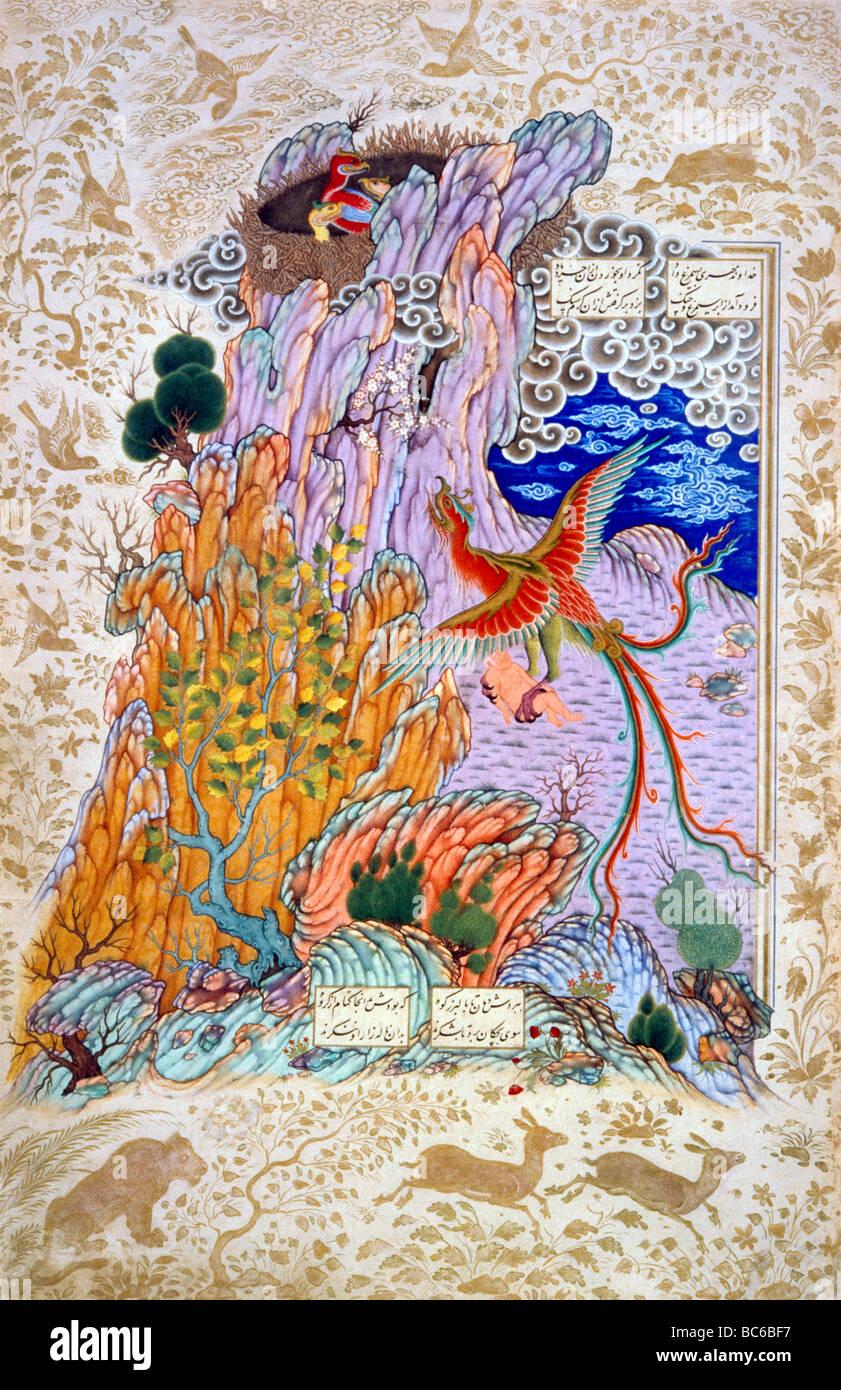 Islamic Painting Bird of Paradise - Stock Image