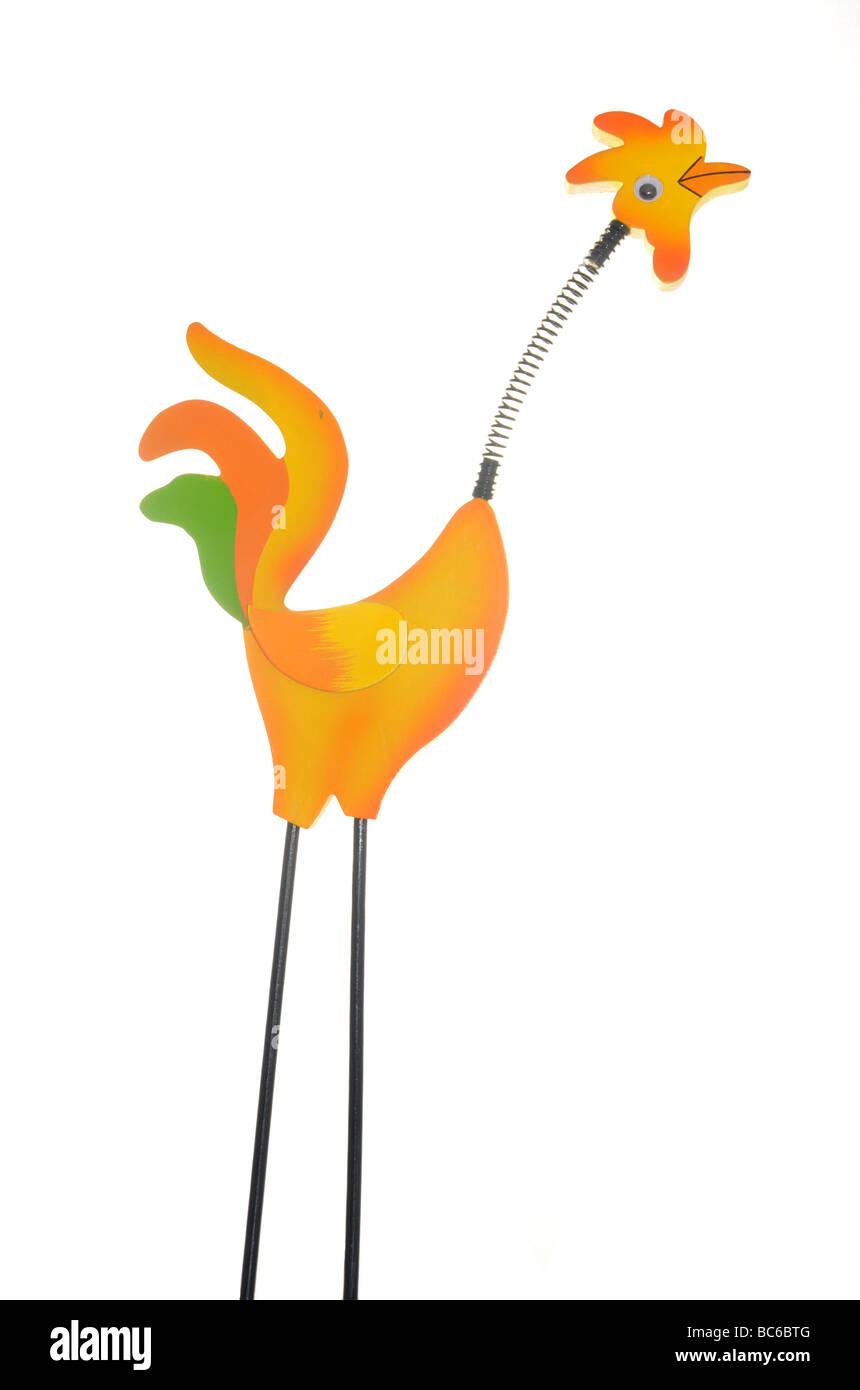 Comical springy cockerel. - Stock Image