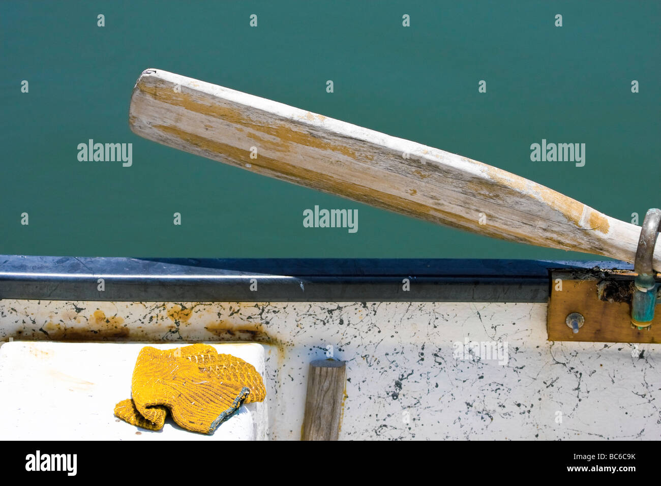 Closeup of rowboat oar - Stock Image