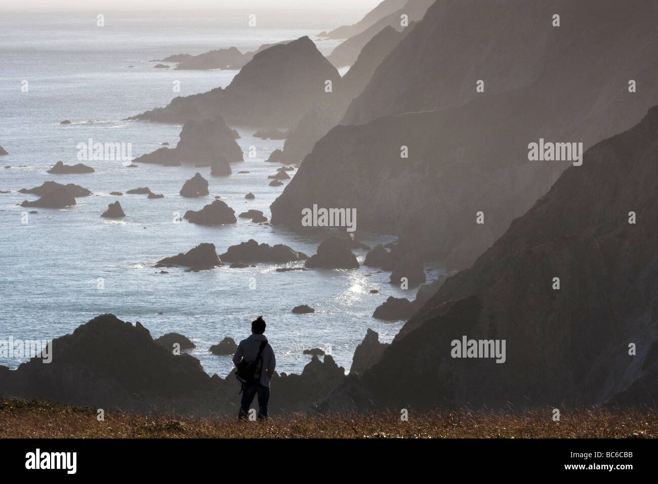Hiker in front of Chimney Rock, Point Reyes National Seashore, California, USA - Stock Image
