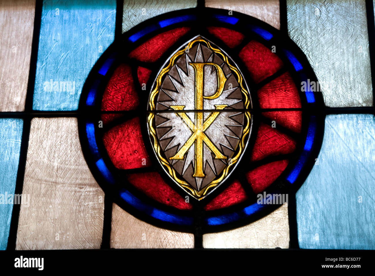 Stained Glass Window Of Christogram Chi Rho Symbol Of Christianity