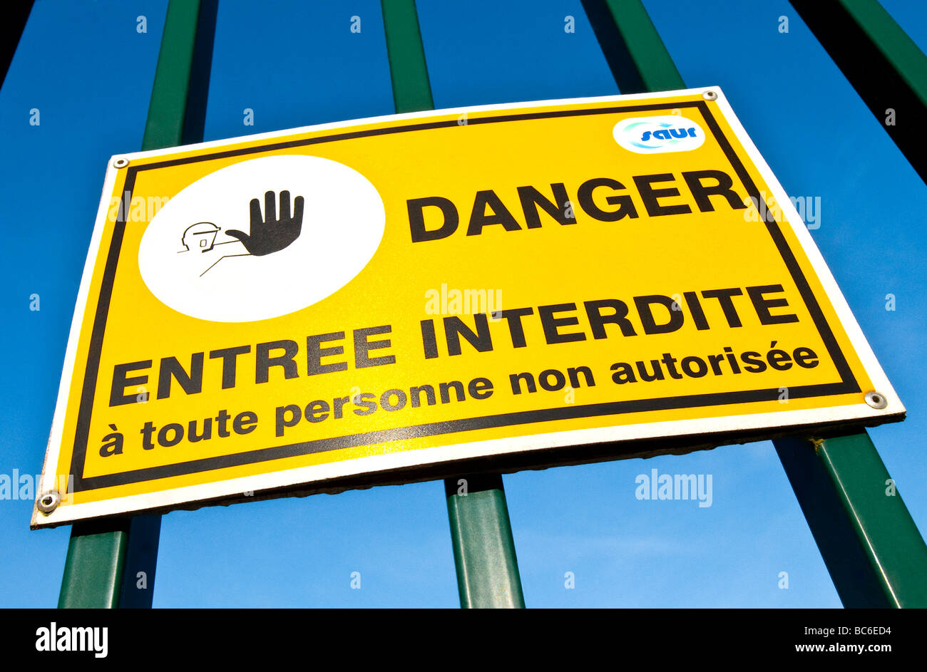Public access forbidden warning notice on French water treatment plant - Indre-et-Loire, France. - Stock Image