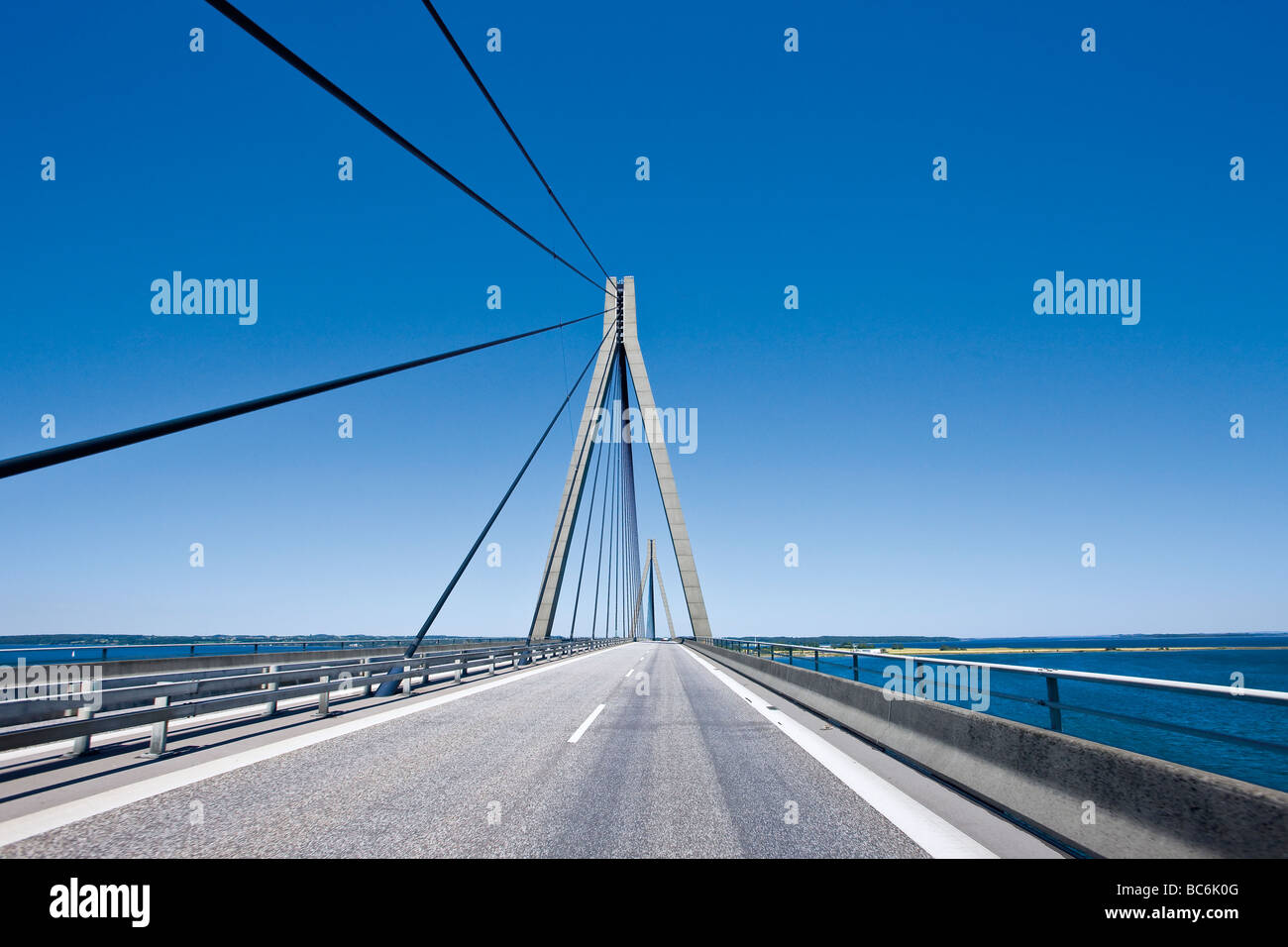Crossing the Faro Bridge between Zealand and Falster in Denmark - Stock Image