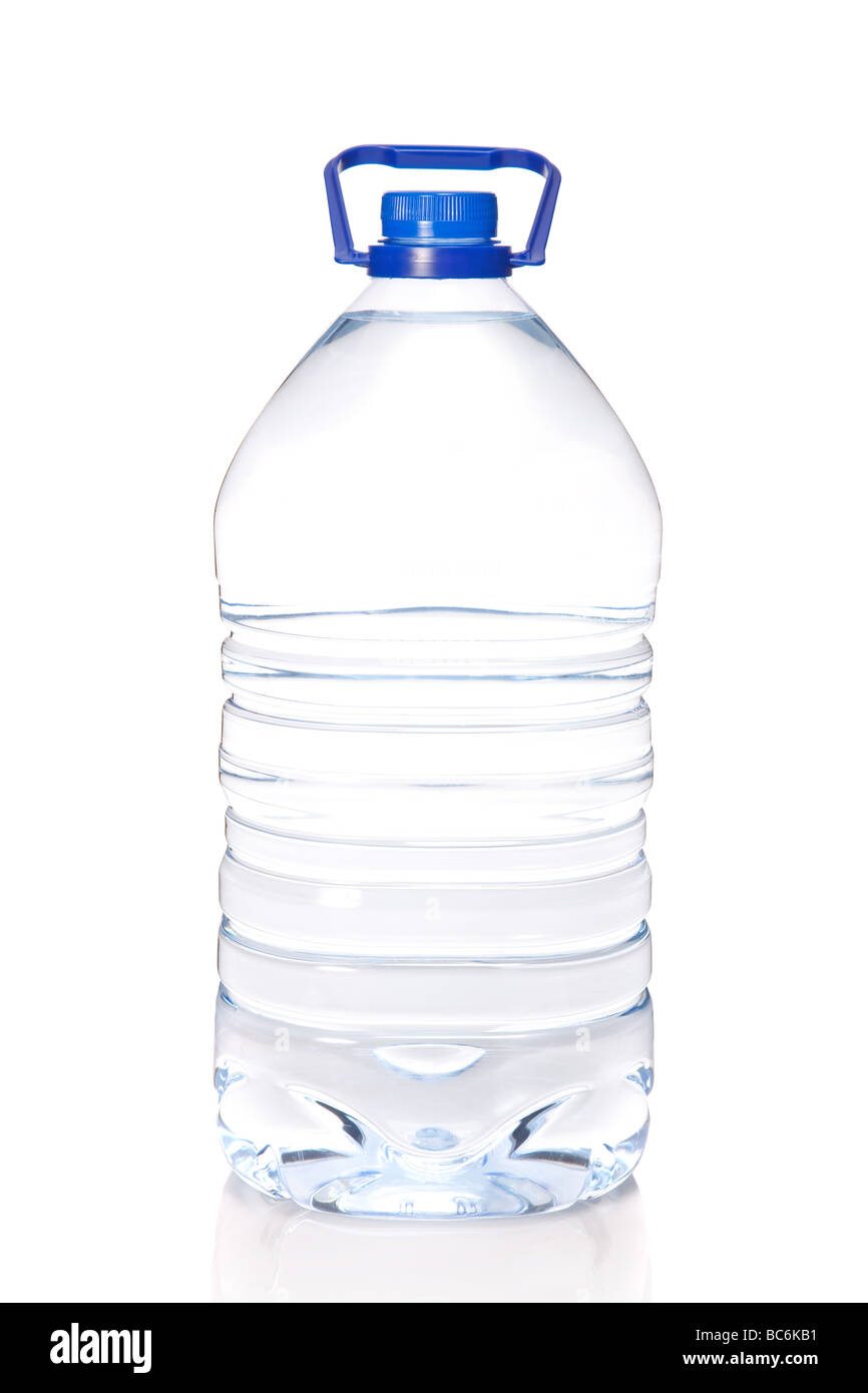 Large bottle of mineral water isolated on white background - Stock Image