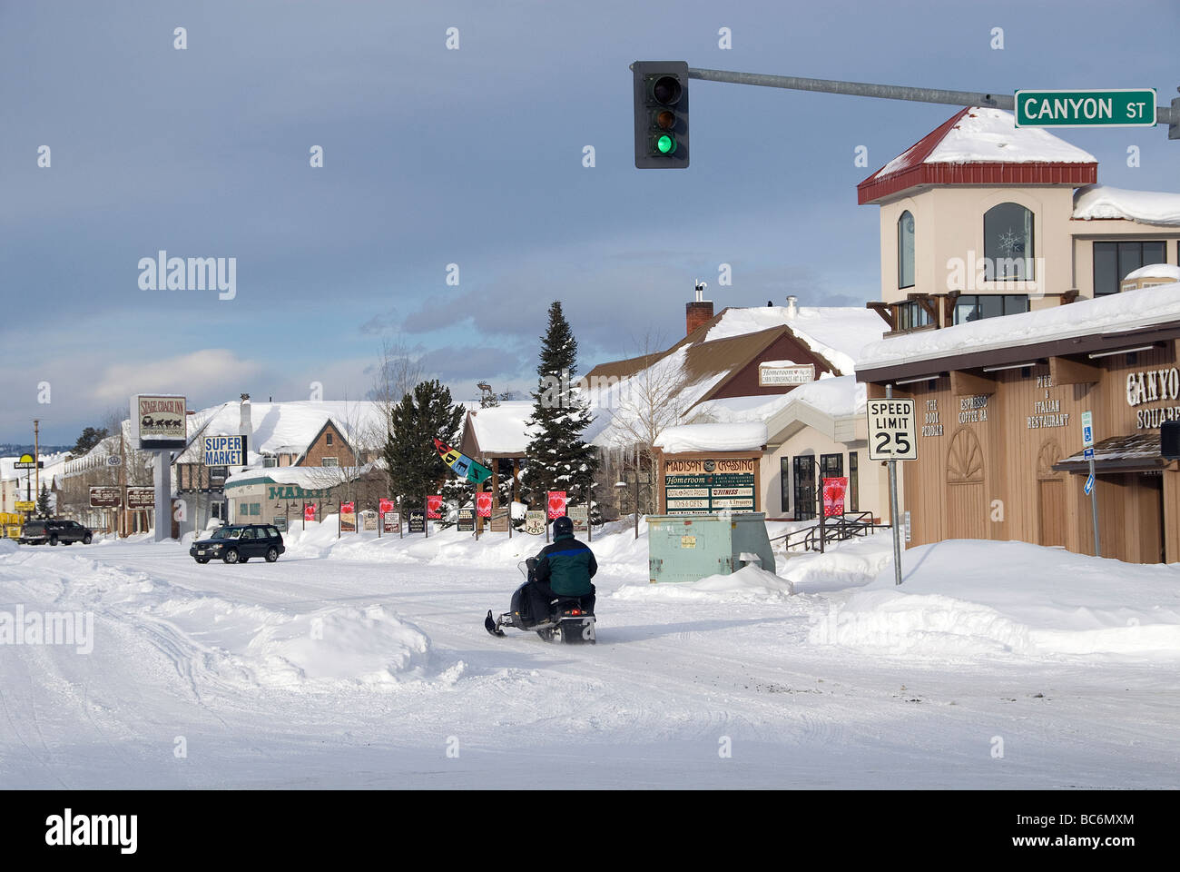 Snowmobiles In Winter In Downtown West Yellowstone Montana Usa Stock Photo Alamy