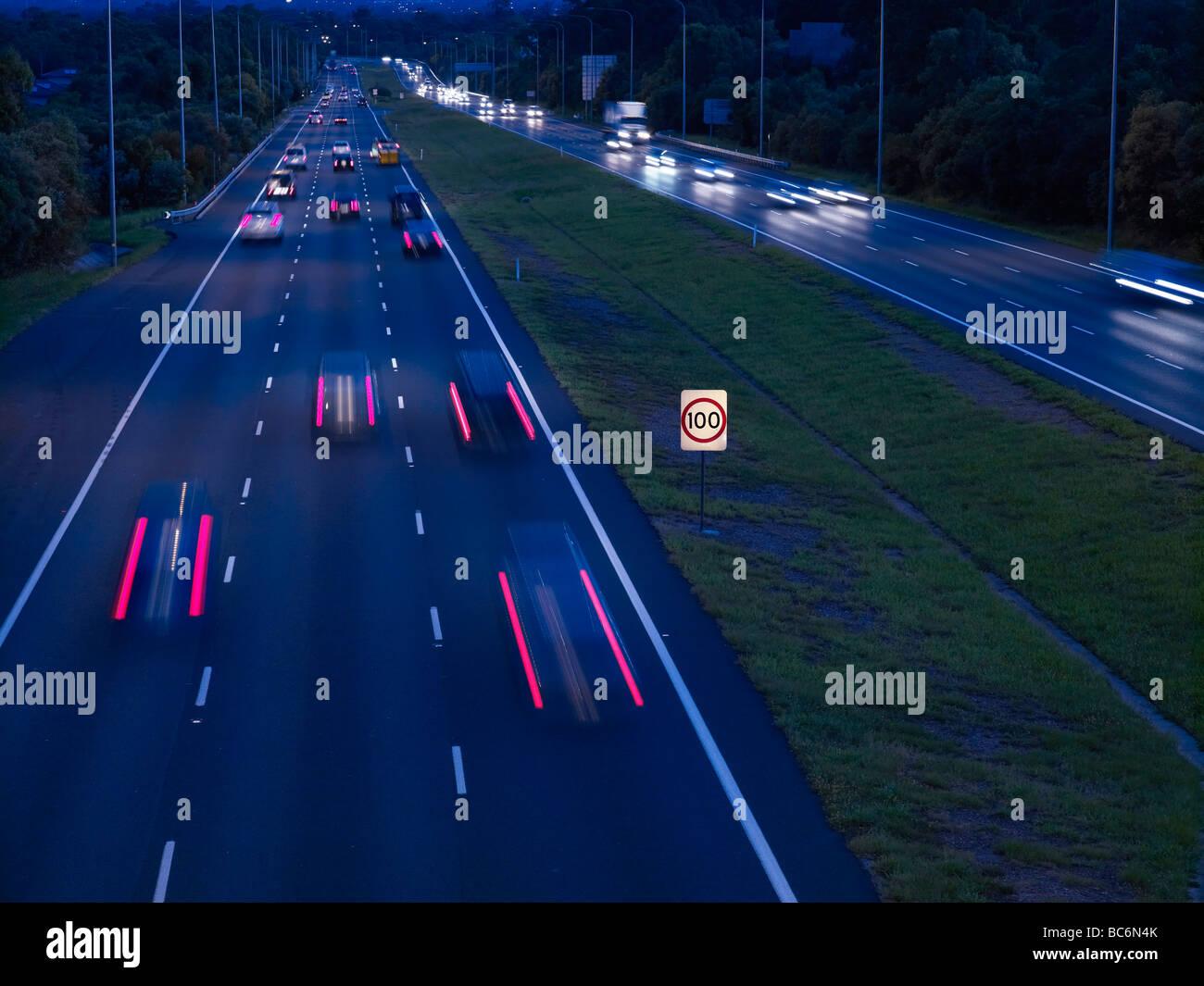 Night traffic M1 freeway Brisbane Australia - Stock Image