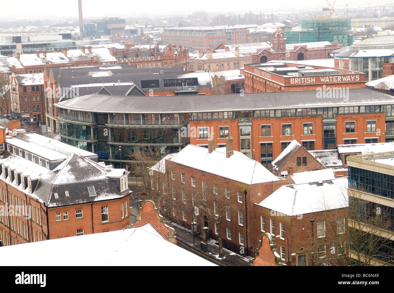 Nottingham skyline, viewed from the terrace of the castle in Nottingham City Centre. Nottinghamshire England UK - Stock Image