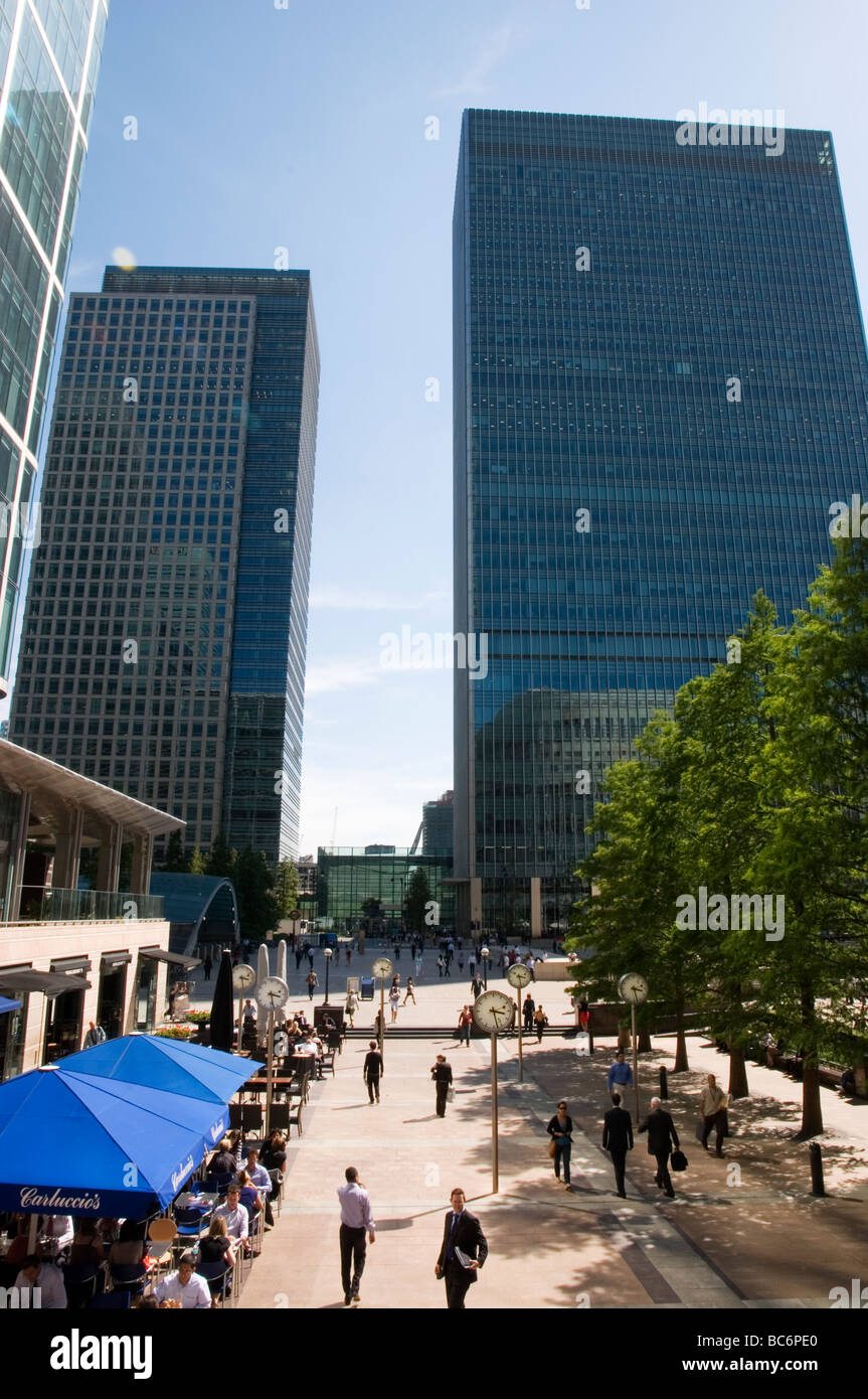 Canada Square in Canary Wharf, Dockland London England UK - Stock Image