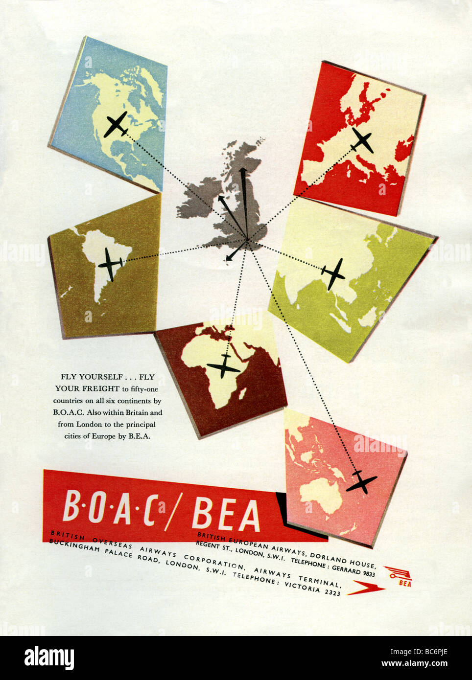 1951 colour advertisement for British airlines BOAC and BEA - Stock Image