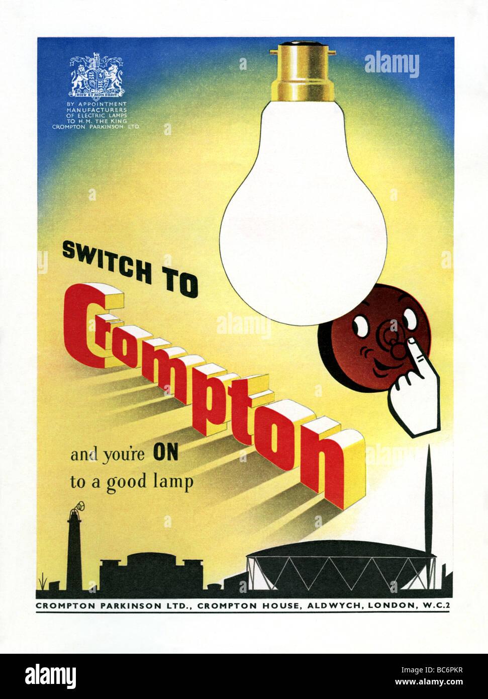 1951 colour advertisement for British lighting company Crompton Parkinson - Stock Image