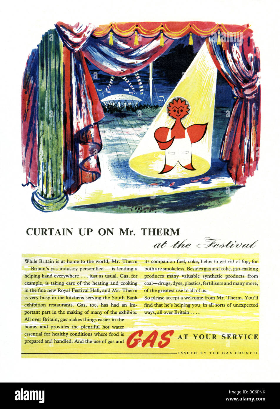 1951 colour advertisement for the British gas industry featuring Mr Therm - Stock Image