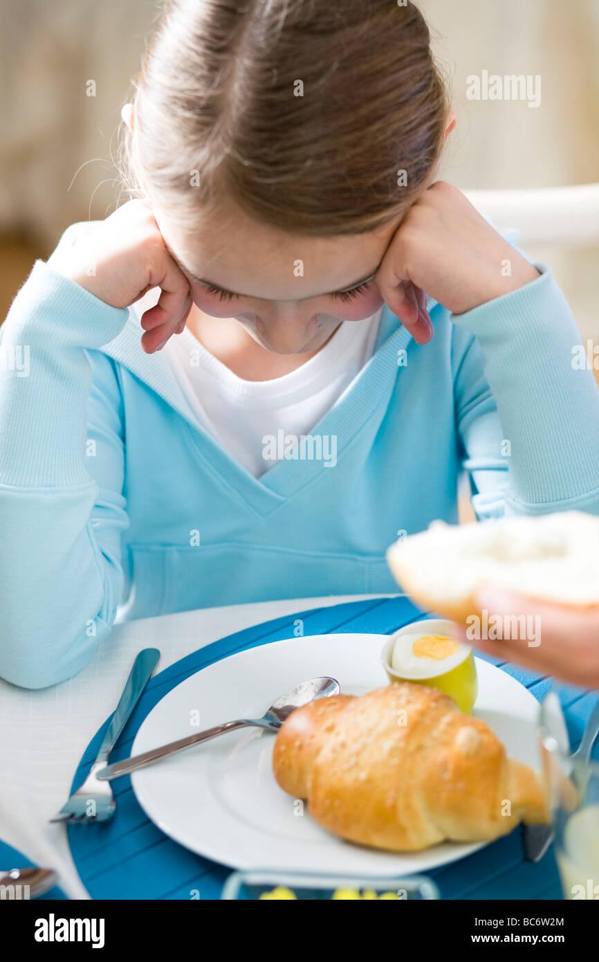 Little girl lack of appetite - Stock Image