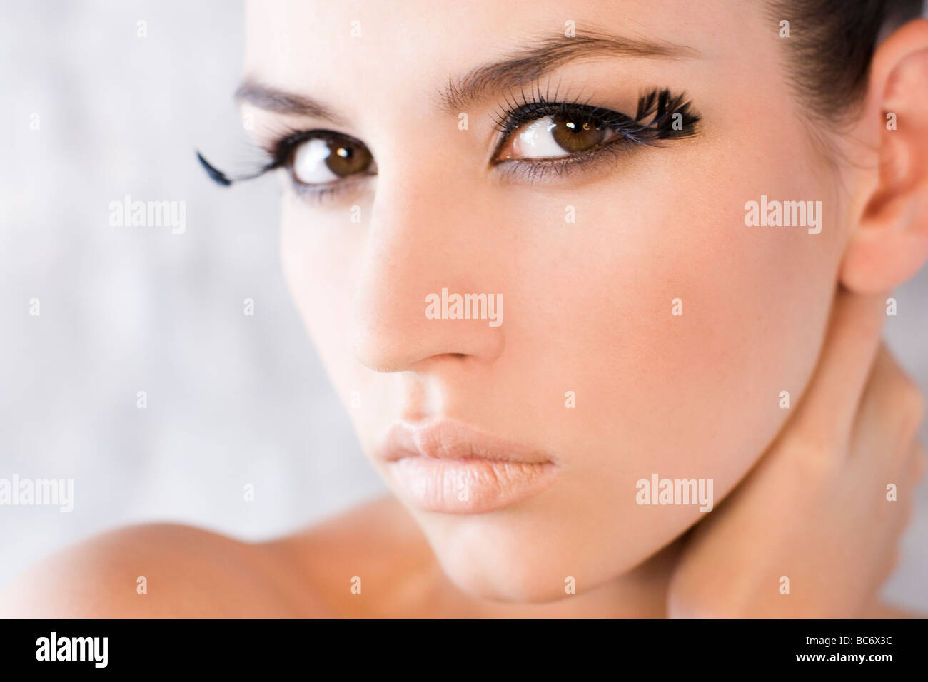 beauty woman with fake lashes - Stock Image