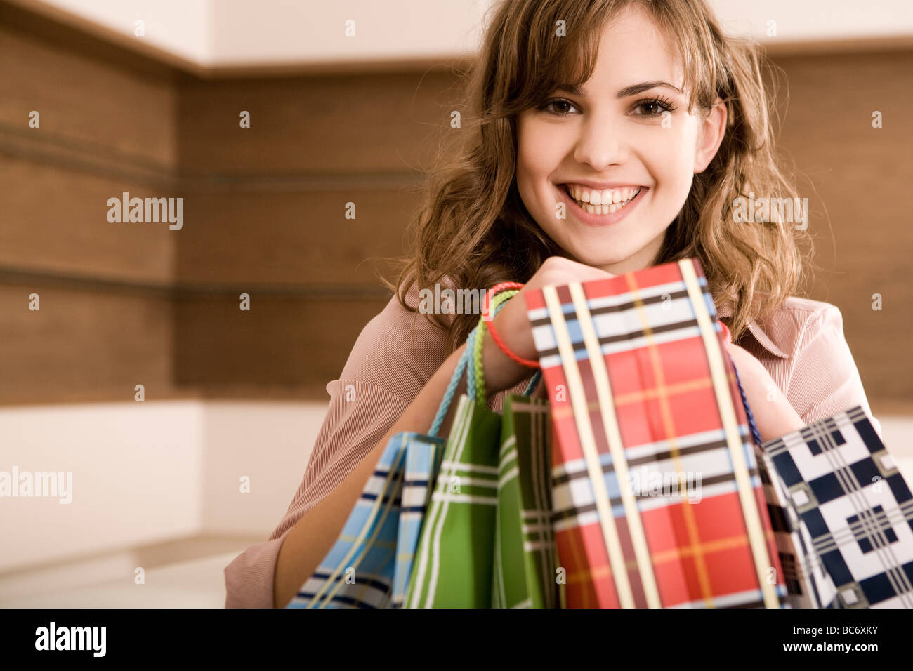 happy woman after shopping - Stock Image