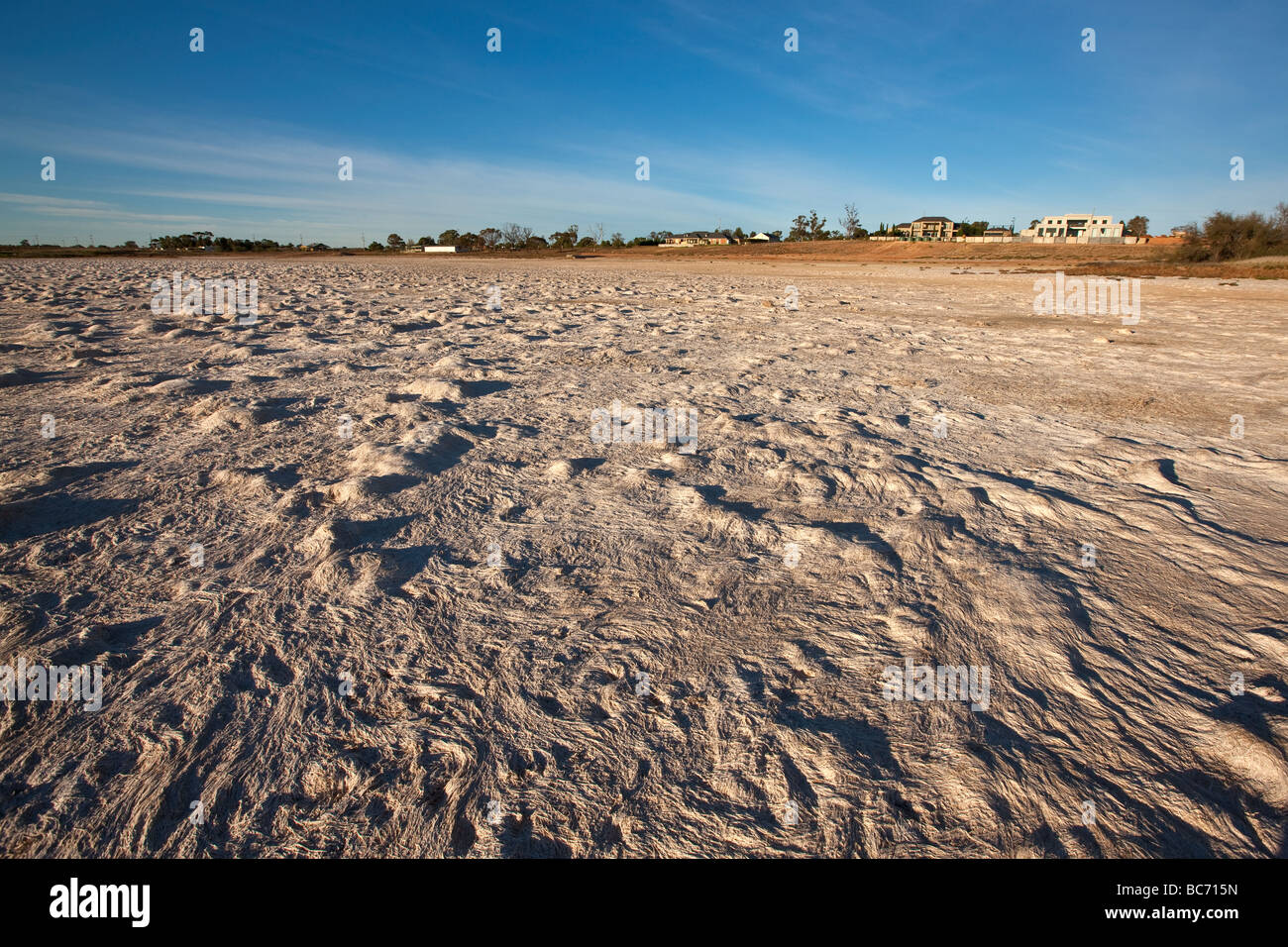 Dry lake bed resulting from drought, South Eastern Australia. - Stock Image