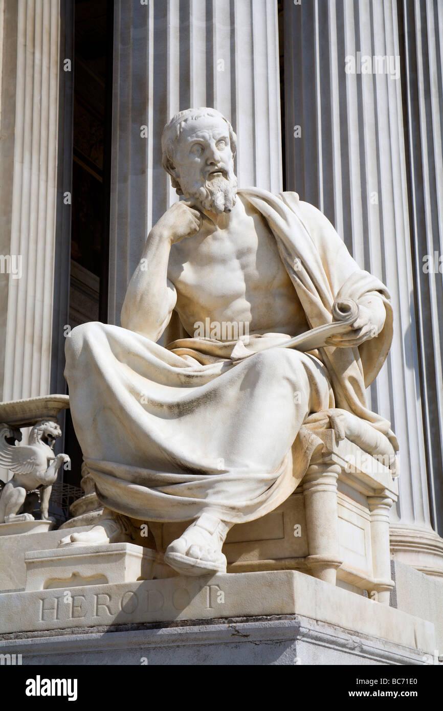 Vienna - philosopher statue for the Parliament - Herodotus - Stock Image