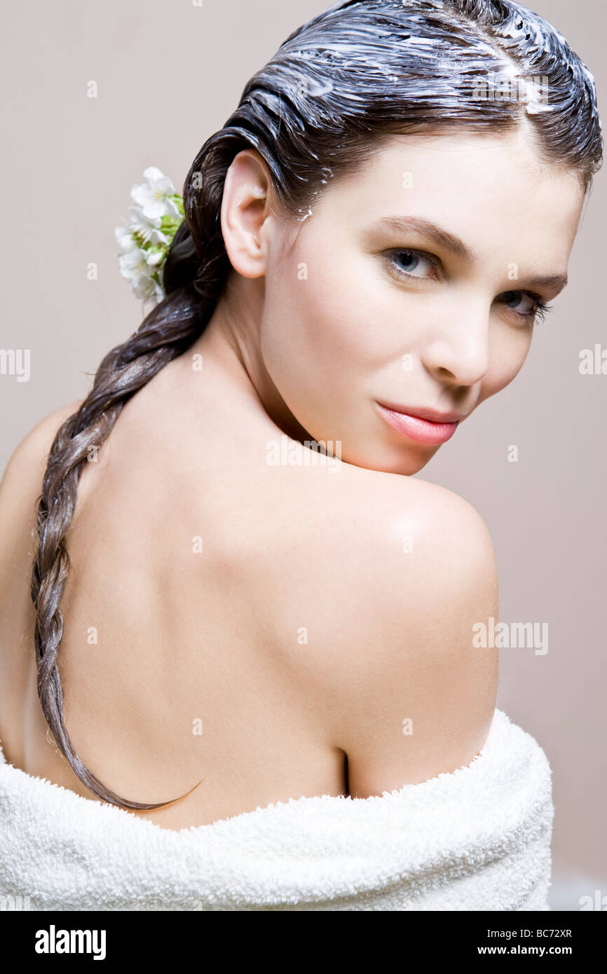 woman with cherry hair mask - Stock Image