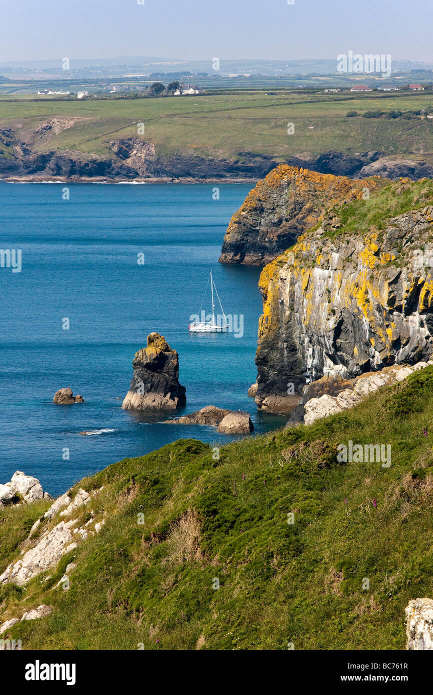 A yacht enter Mullion harbour - Stock Image