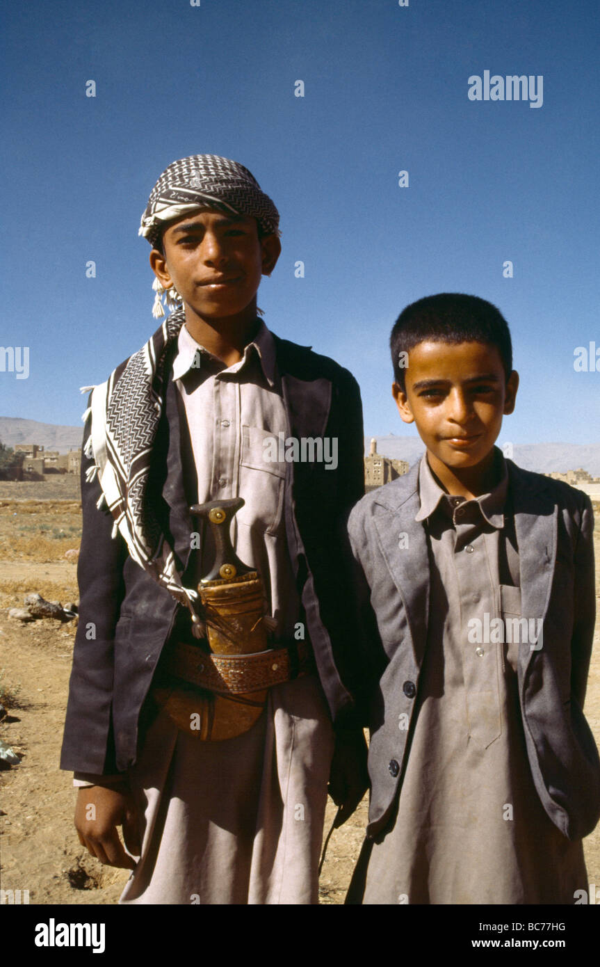 Yemen Two Boys One Wearing Jambia - Stock Image