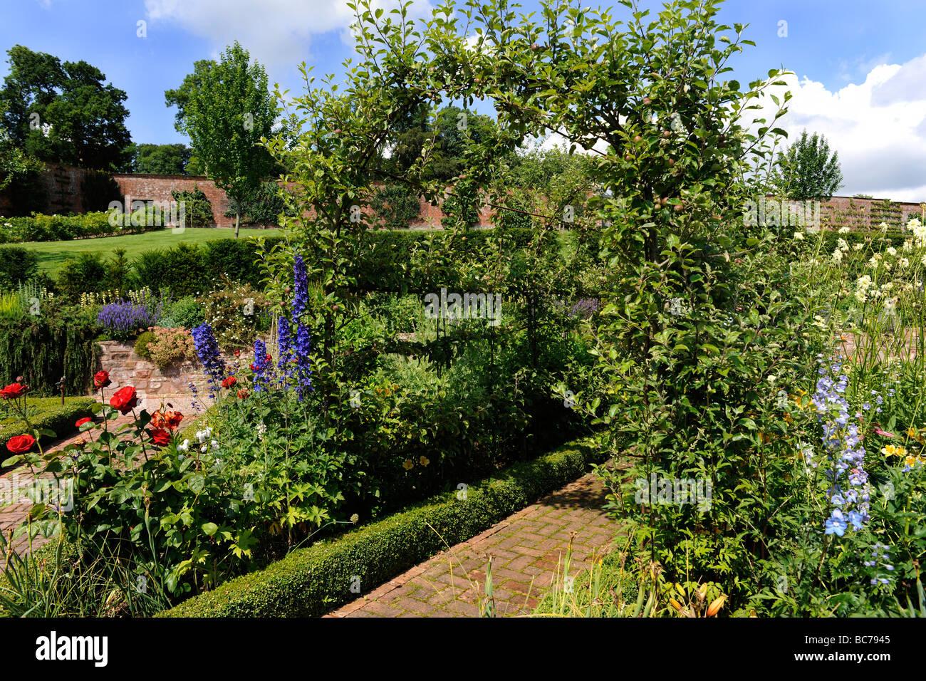 Landscaped English garden in Holcombe Court, Devon, UK - Stock Image