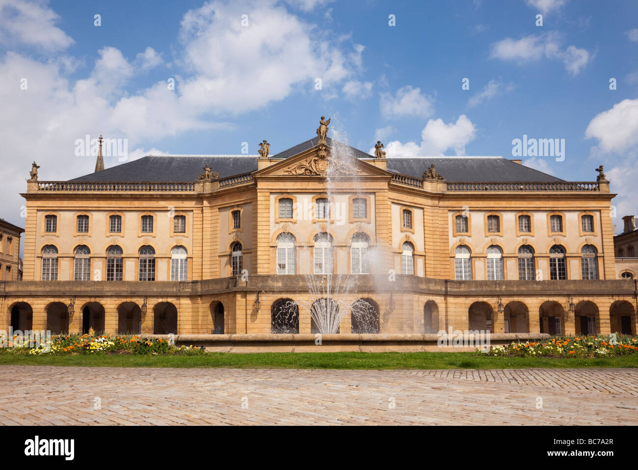 Metz Lorraine France Europe Opera Theatre and fountain on La Place