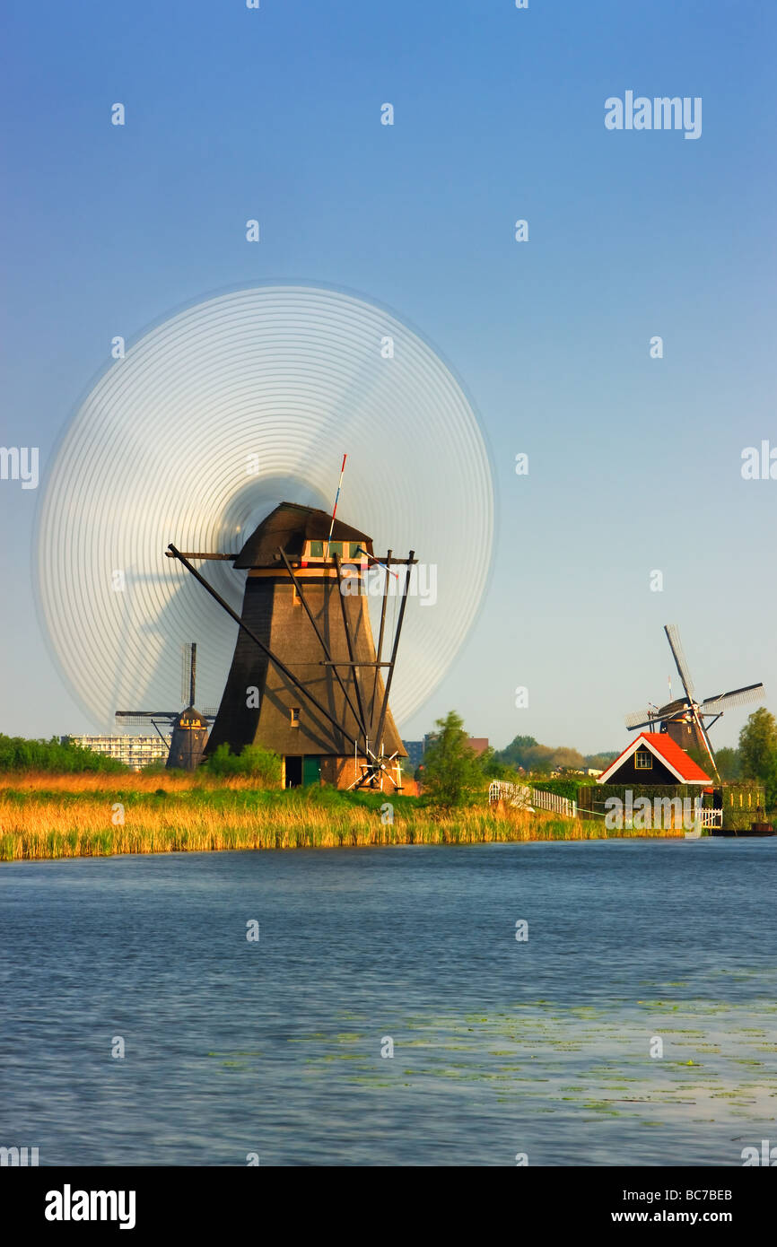 Spinning windmill at the Kinderdijk, Netherlands - Stock Image