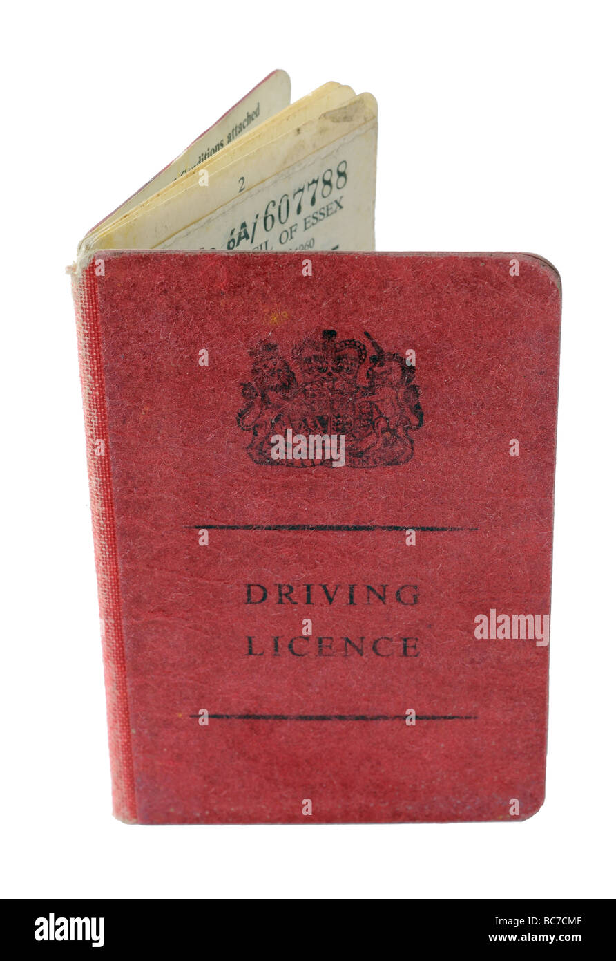 An old 1960s UK driving licence - Stock Image
