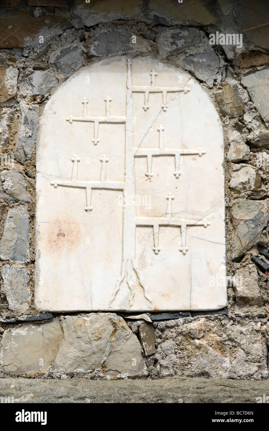 The heraldic stemma, or coat of arms of the Malaspina of Fosdinovo, Massa Carrara, Tuscany Italy - Stock Image