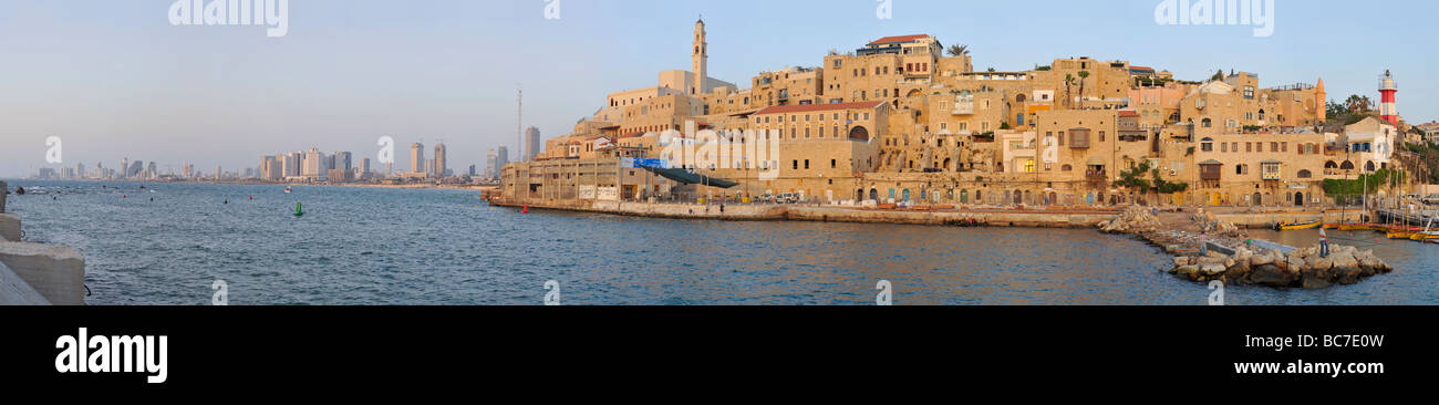 Ancient Jaffa Port and Tel-Aviv Panorama - Stock Image