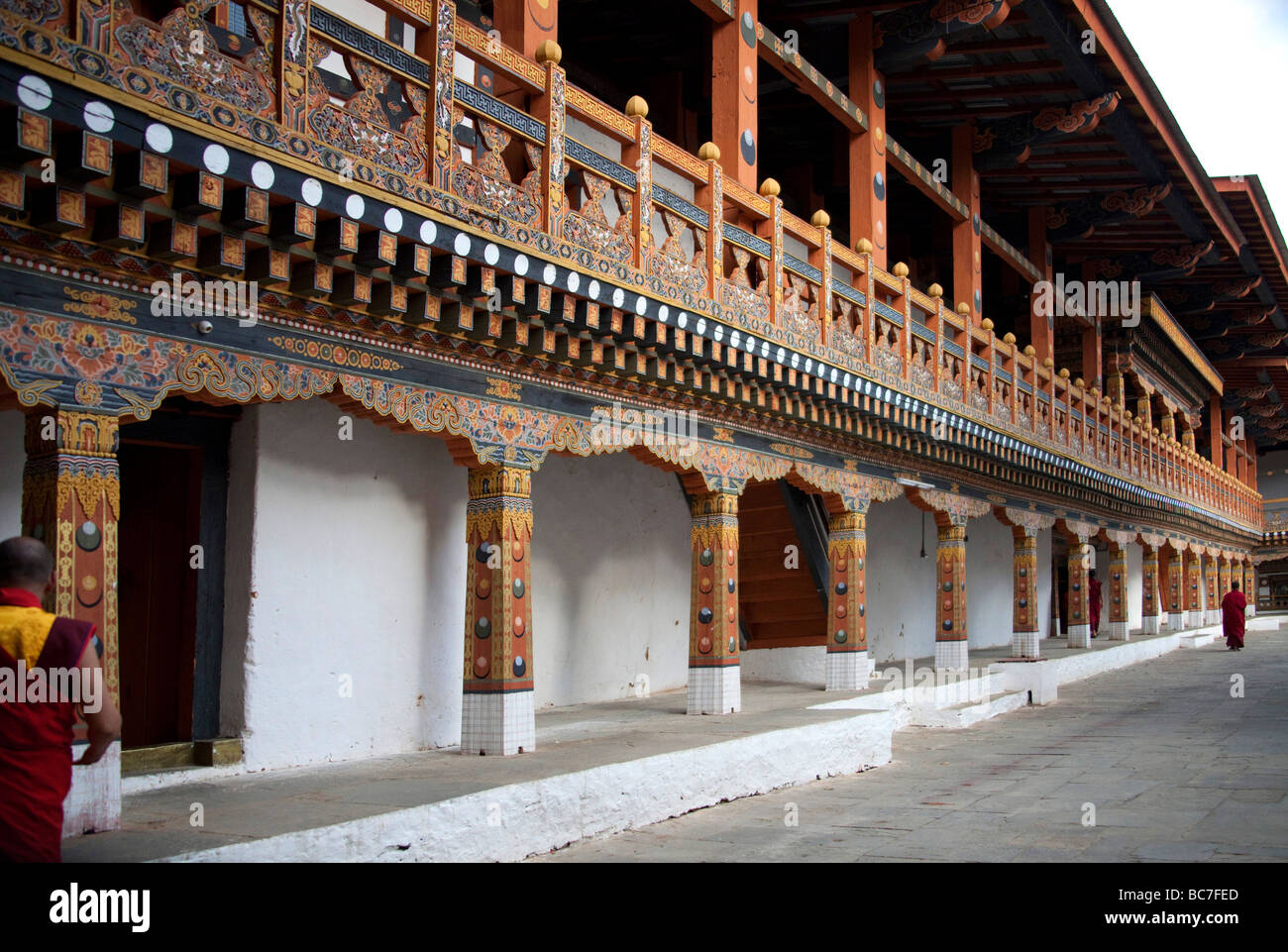 Interior courtyard with columns and architectural details ofPunakha Dzong Monastery  .Horizontal  91618_Bhutan-Punakha - Stock Image