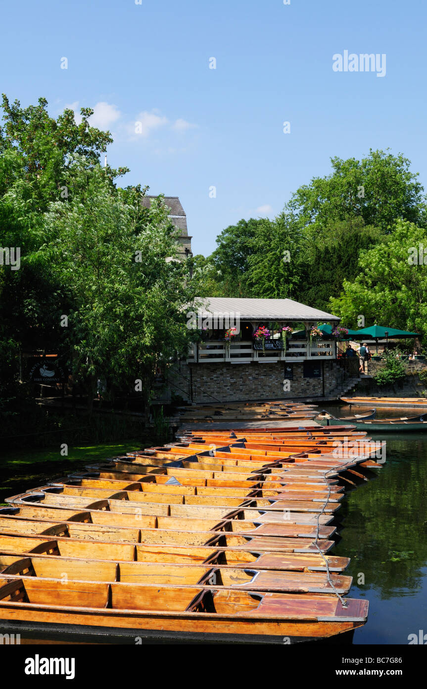Punts at the Millpond and the Granta Pub, off Queens Road Cambridge England UK - Stock Image