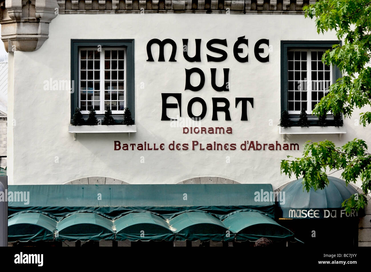 Museé du Fort -  Presents sound and light shows of the six military sieges that shaped the history of Québec - Stock Image