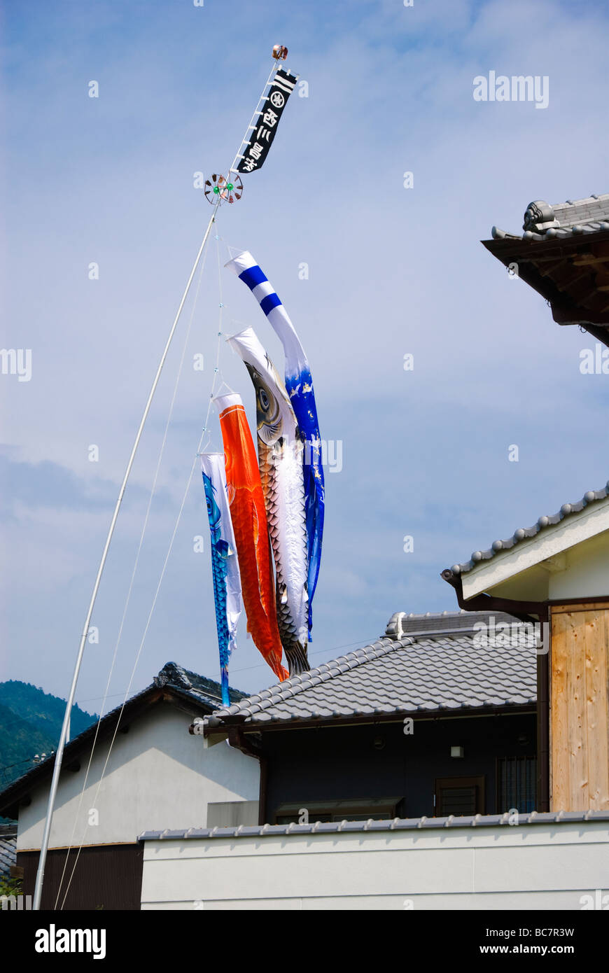 Children's day (formerly known as Boy's Day) carp banners fluttering in the wind. - Stock Image