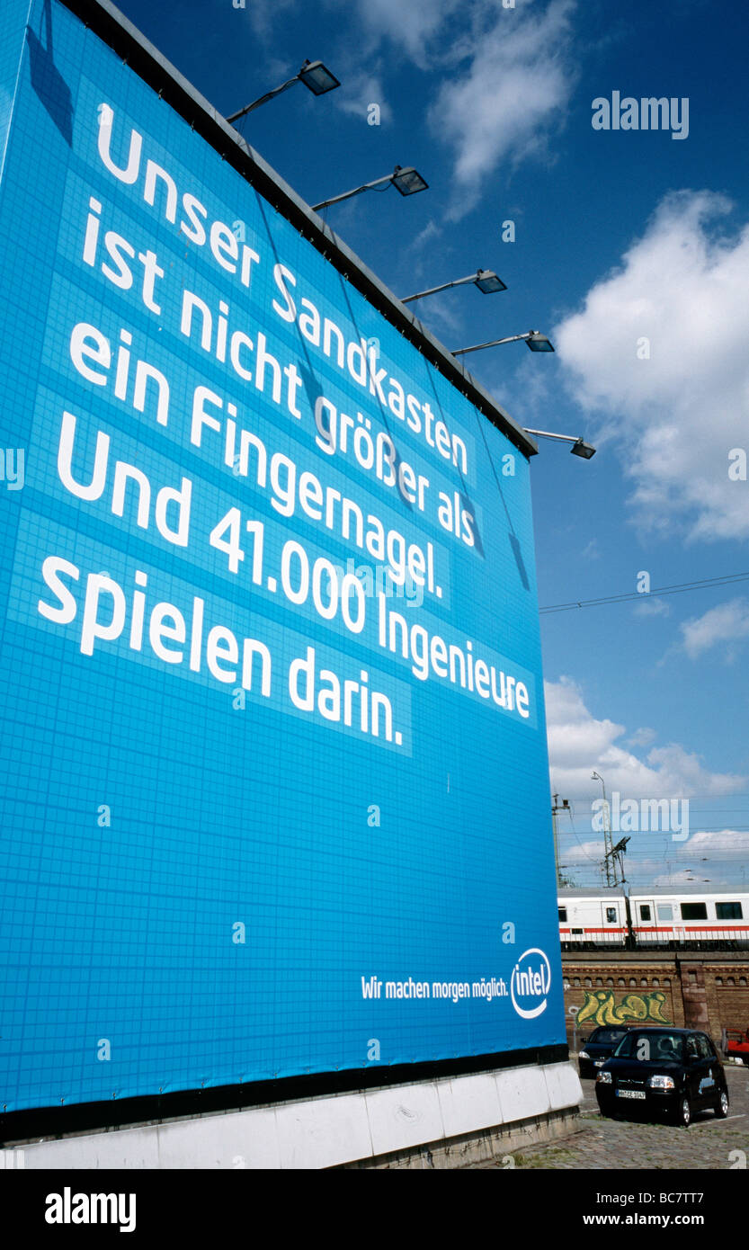 June 29, 2009 - INTEL adverstising space in the German city of Hamburg. - Stock Image