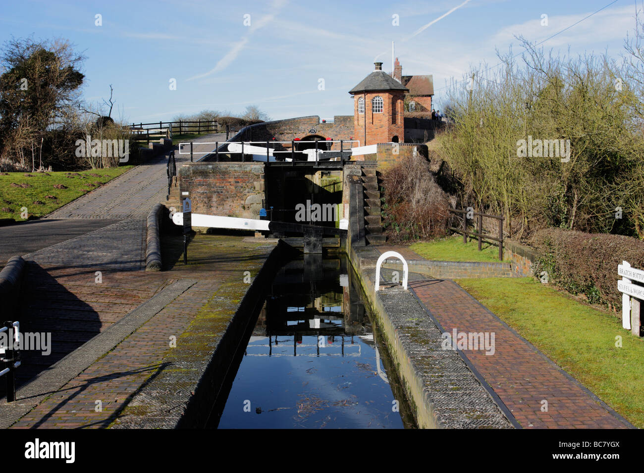 Bratch locks on the Staffordshire & Worcestershire canal, Wombourne, South Staffs. Stock Photo