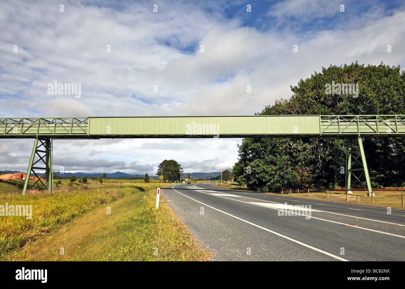 Conveyor belt accross a highway for the purpose of moving cut sugarcane to a factory for refining - Stock Image
