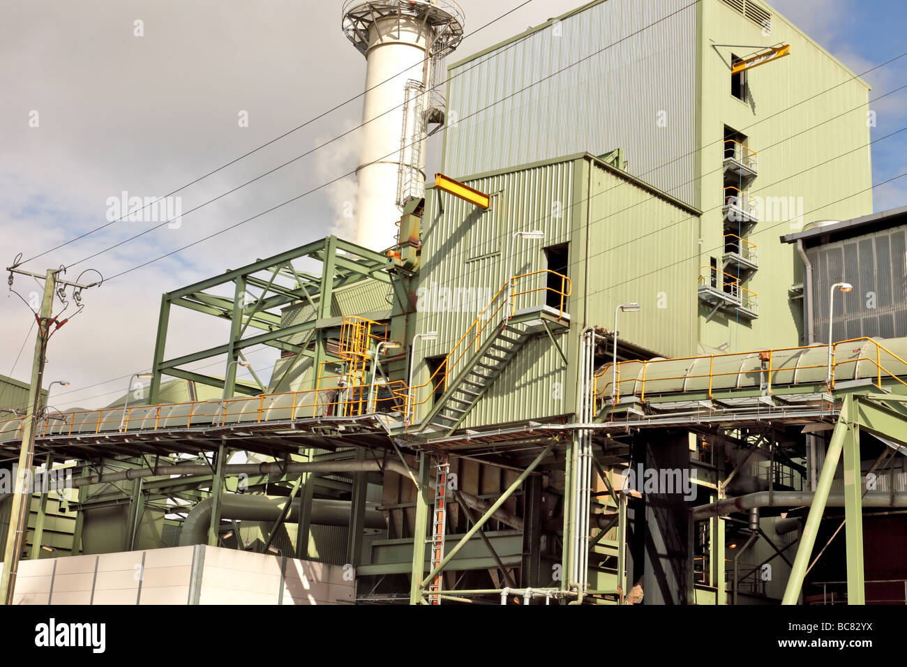 Industrial detail of part of an operational sugar mill - Stock Image