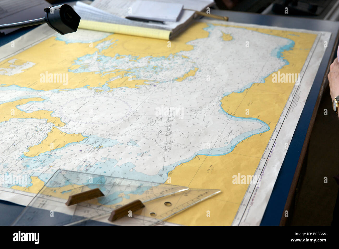 Ship's navigation chart showing plotted course and position from Libya to Crete. - Stock Image